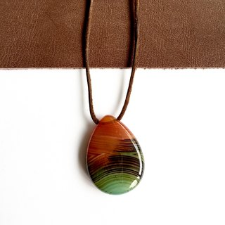 Orange & Green Stripe agate leather pendant