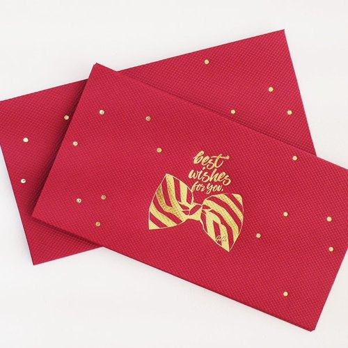 Red squeaky red bag / gold tweeted. Red bag