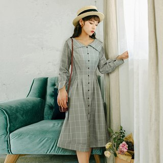 [Buy two get one free] 2018 autumn women's new doll collar plaid waist dress dress