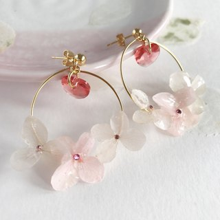 Real flower Hydrangea Earrings with Swarovski 18KGP