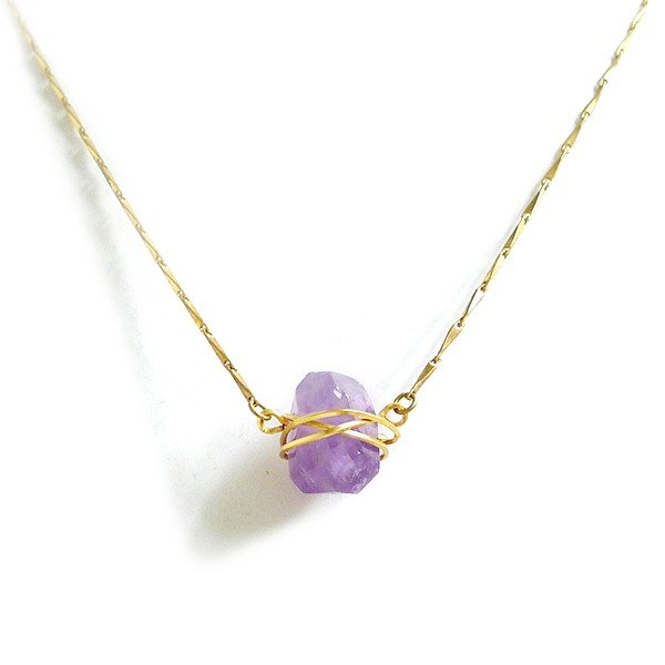 Ficelle | Handmade Brass Natural Stone Necklace | The Fatal Temptation of Snow Girl-Amethyst