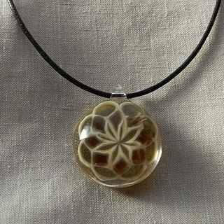 Rose window Geometric pattern Pendant Gold-color Glass Handmade