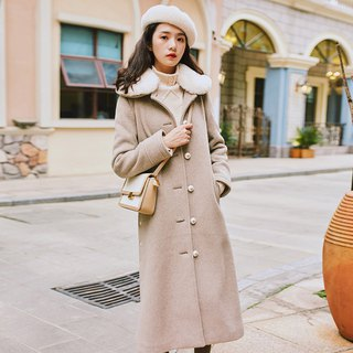 2018 women's winter wear with fur collar side slit coat