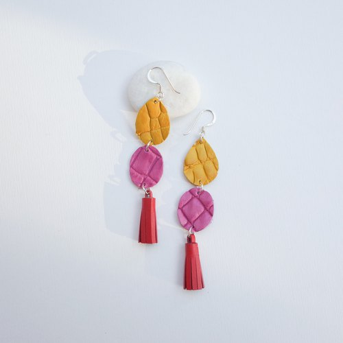 Genuine crocodile leather earring in yellow/pink with tassel (Sterling silver)