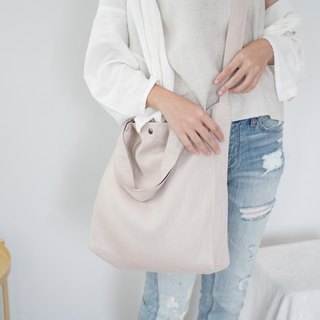 Casual 2 Ways Linen Tote Bag (Beige)