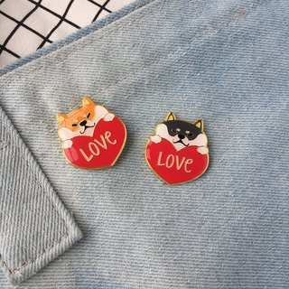 Baise Town Original Chai Chai Couple shiba brooch badge pin