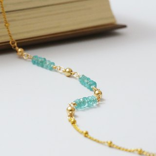 Marine Apatite Bracelet 14K Gold 1/20GF Gold Note Gold Light Jewelry
