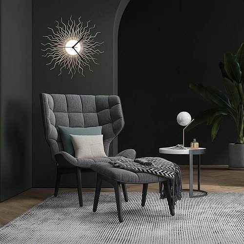 Medusa silver - contemporary wooden wall clock with glistening paint