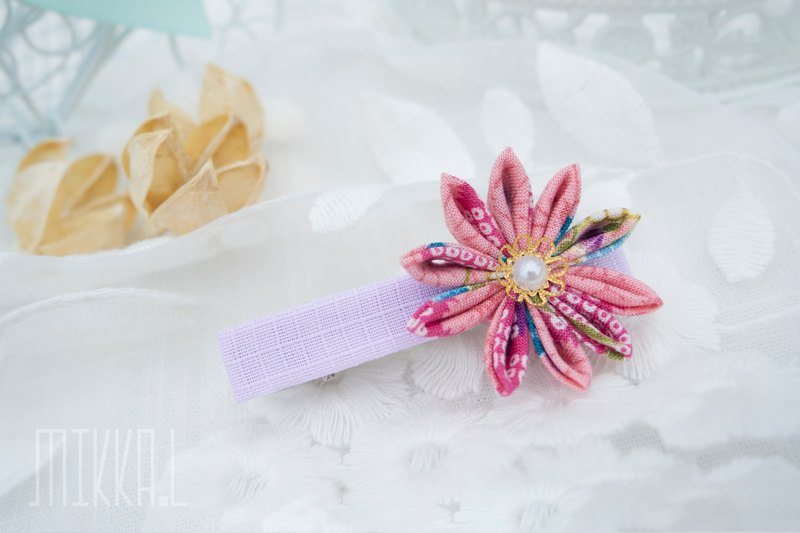 Japanese fabric pink series chrysanthemum hairpin jewelry in stock