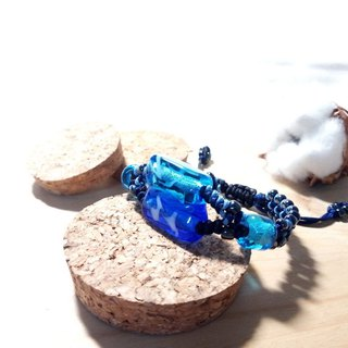 Grapefruit Forest Handmade Glass - Double Hole Glass Beads - Deep Sea Blue x Light Sea Blue - Glass Bracelet
