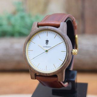 EINBAND Glanz WHITE 36mm Wooden Watch Brown Leather Belt
