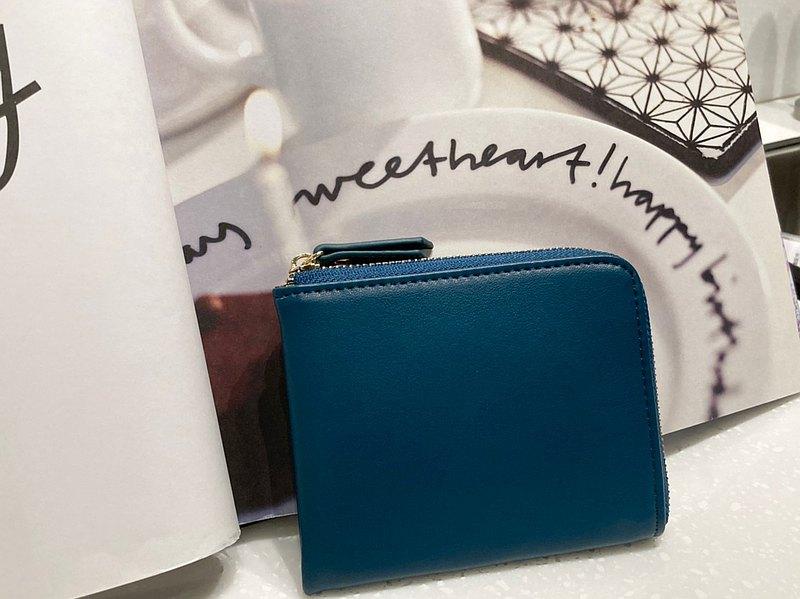女人節新品 真皮錢包 土耳其藍 L型拉鍊短夾 零錢包  生日情人節