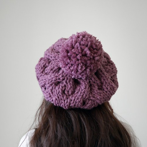 Thick needle twisted wool ball knit wool beret - Orchid Purple