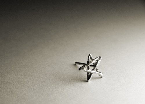 Silhouetted star shaped sterling silver earrings (single / pair)