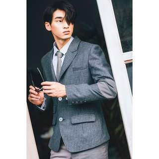 Light wool striped suit Blazer Elbow Grey