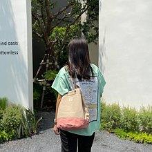 Khaki/ pink Canvas 2way Bucket Bag w/  Strap Leather Handles.