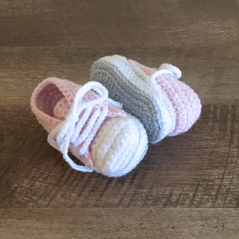 Stylish Baby Sneaker Crochet Shoes Pale Pink Toddler Booties