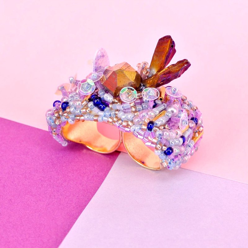 Planet - Violet. Pink Amethyst Island Double Ring Ring