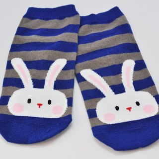【HABBI TWO】 Taiwan original cotton socks / children's wear ★ blue-gray striped rabbit