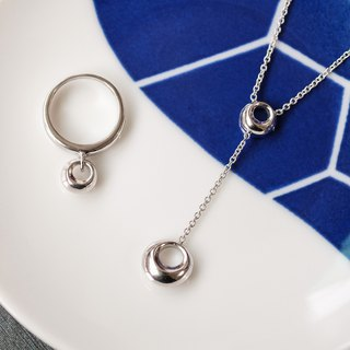 Goody Bag - Classic Double Round Pendant Set 925 Sterling Silver