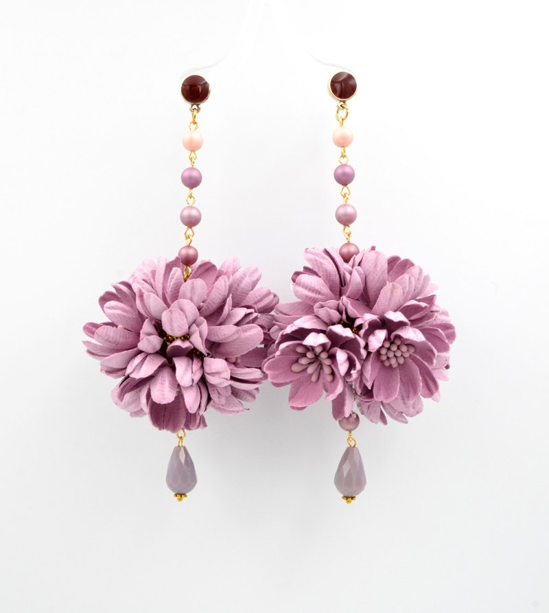 (L size) Pink Purple Stereo Embossed Daisy Flower Ball Earrings Purple Daisy Ball Earring