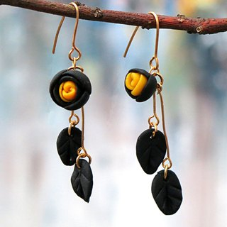 Paris  Black  Rose Earrings . 14kgf .  Gift for Her / Handmade Earrings