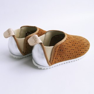 Beven Smiley. V series full leather children's shoes - tunnel section - earth brown -30 yards (slippers / lazy shoes)