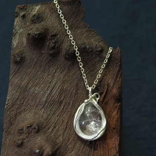 - Natural White Crystal Pendant - Sterling Silver Necklace