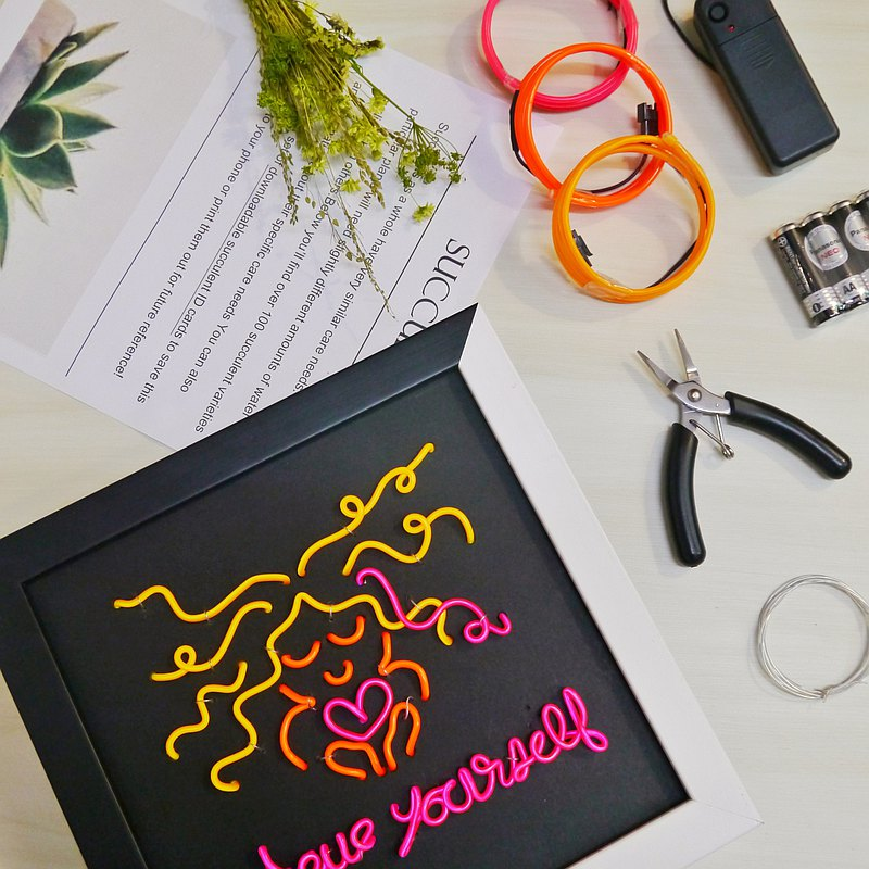 Hand-made DIY material kit x glowing neon light painting