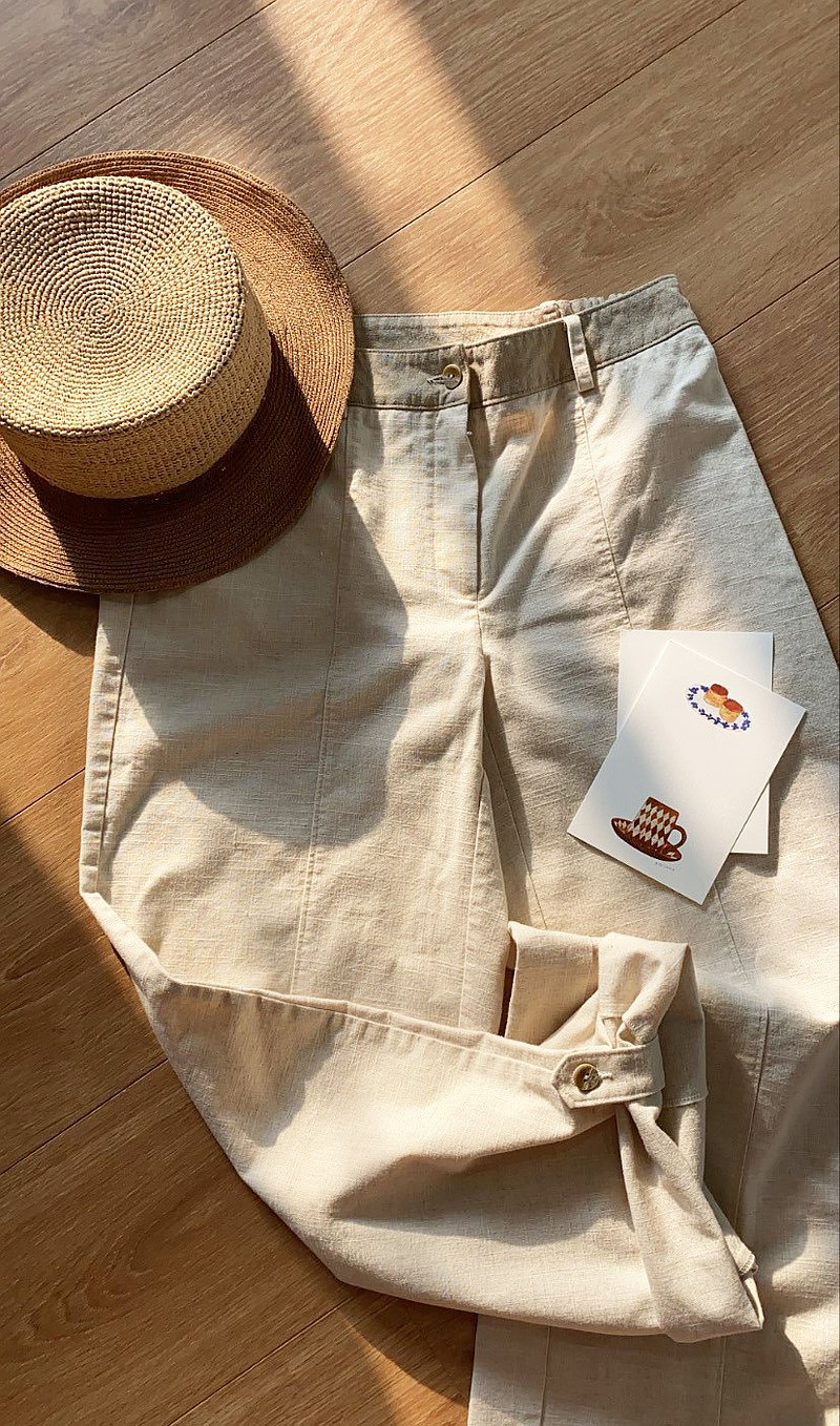 Rye field stitching cotton and linen button pants