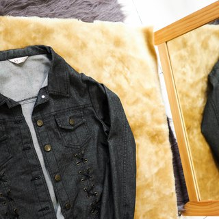 Miyazaki classic plain gray black cross rope antique cotton denim shirt jacket oversize
