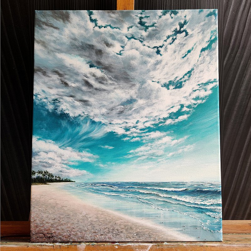 【Infinity】Original Acrylic Painting on Canvas. Waves on Shore Seaside Landscape