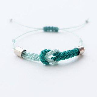 Tiny tie the knot rope bracelet in Sea green / Light mint