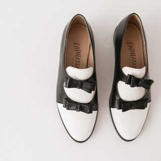 :EMPHASIZE Double Bow Full Leather Shoes - Black and White Colors