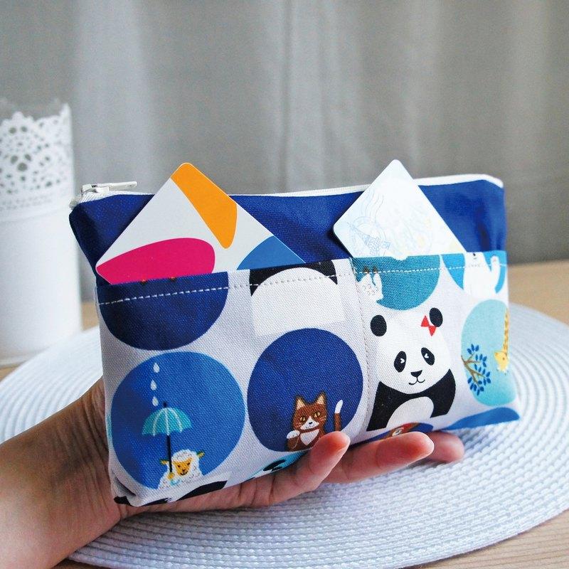 Lovely【日本布訂製】熊貓與動物多分隔筆袋、工具袋、藍