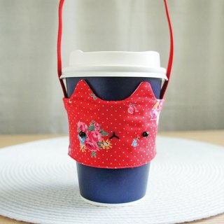 Lovely [Japanese cloth] rose comet drink cup bag, cat drink cup set [red white point]