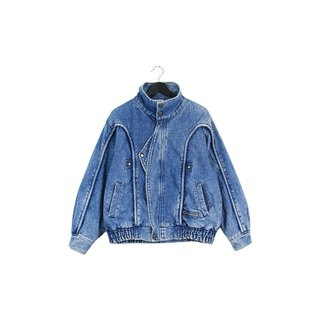 Back to Green Layered Natural Brushed Zipper and Buckle Two-Pocket Patchwork Vintage Denim Jacket