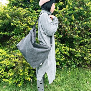Cotton big shoulder bag side backpack Messenger bag large capacity neutral stone wash black gray