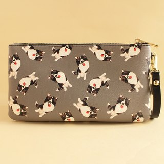 Border Collie Puppy Purse Clutch Storage Bag Wallet Passport Package Mobile Phone Bag
