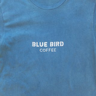 Indigo dyed indigo organic cotton - BLUE BIRD COFFEE TEE