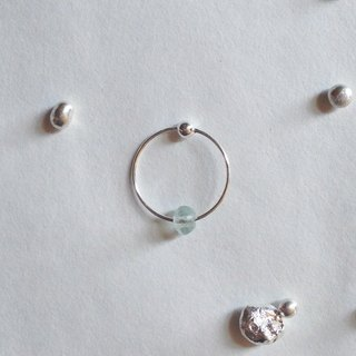 【 PURE COLLECTION 】- Minimalism circle/ aquamarine .925 silver earrings(single earring for sale)