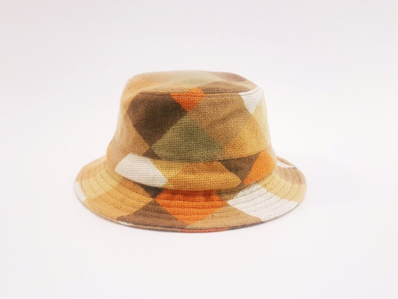 British disc gentleman hat - vintage orange plaid #毛料#Exclusive #限量#秋冬#礼物# Keep warm
