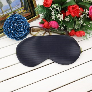 Dark blue striped adjustable eye mask gift bag sleep mask