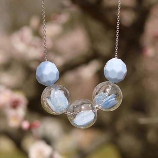 Preserved Flower Planet Ball Pastel Blue Necklace
