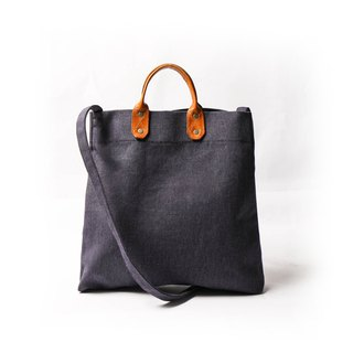Simple leather canvas shopping bag new side strap with handbag blue DG26