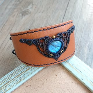 Misssheep H41 - genuine leather macrame bracelet with Labradorite