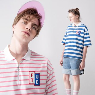 UNISEX OVERSIZED POLO SHIRT/  Pink white stripes+Blue white stripes
