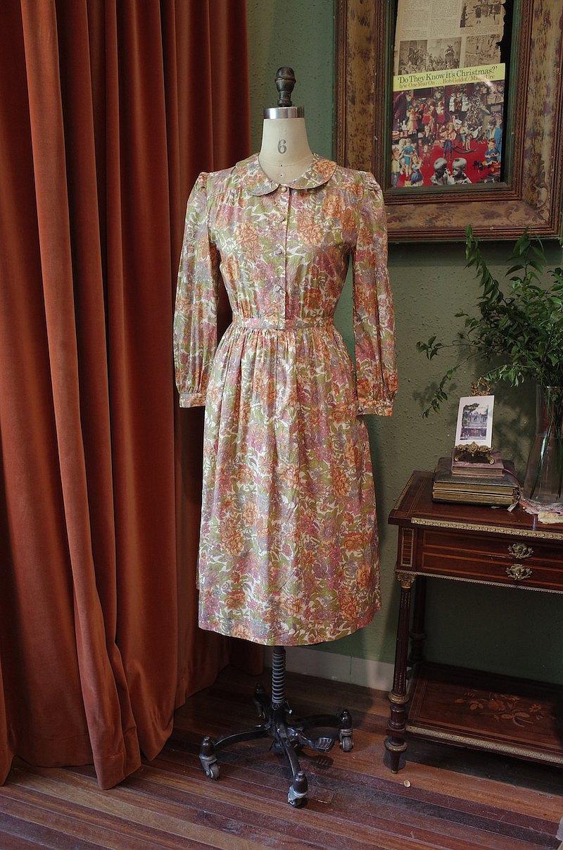 vintagedress彼得潘翻領印花復古味美連衣裙古著洋裝