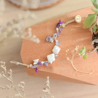 a handmade lucky soft purple lucky stone bracelet comes with the real pearl by niyome craft