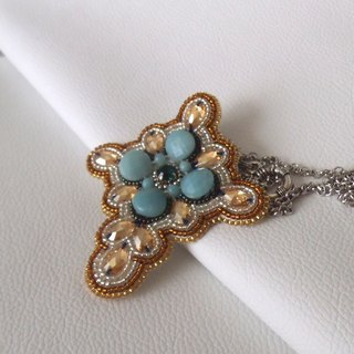 【beads embroidery】 Swarovski 3 way pendant top  no. 10